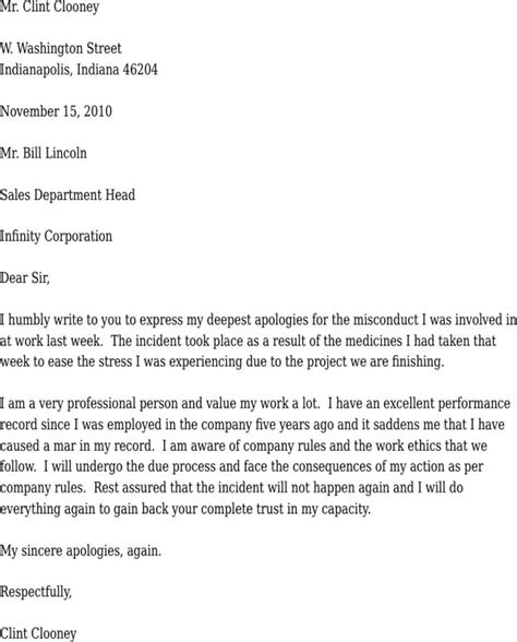 Apologies Letter To On Misconduct Apology Letter For Misconduct For Free Formtemplate