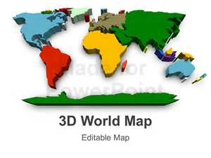world powerpoint template 3d world map editable powerpoint slide