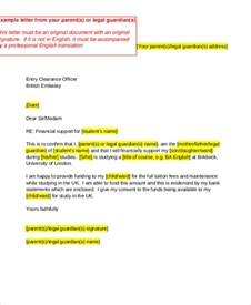 Financial Support Letter By Parents Guarantee Letter