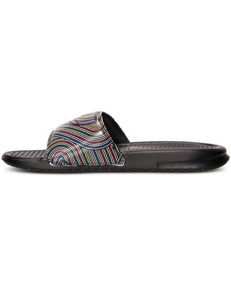 nike benassi jdi print slide sandals lyst nike s benassi jdi print slide sandals from