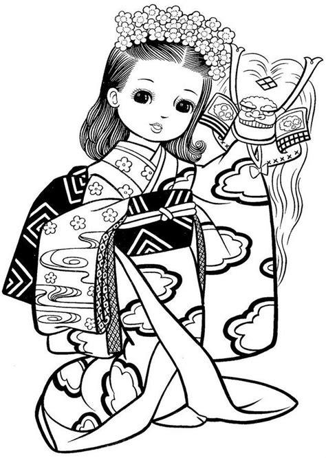 japanese girl kimono coloring page ba 250 da web boneca japonesa de kimono desenhos para pintar