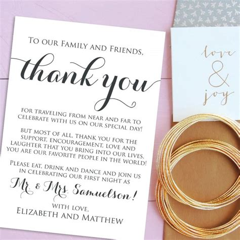 thank you letter after wedding wedding thank you cards welcome letter printable wedding