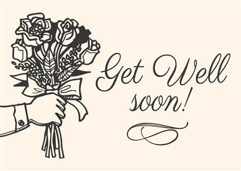 doodle get well soon get well soon card free vector