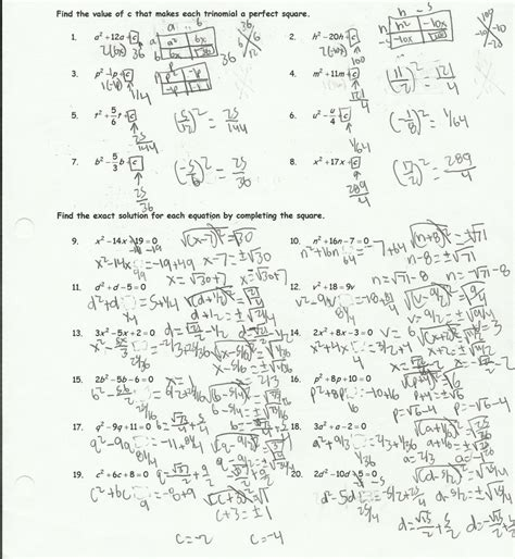 Solve By Completing The Square Worksheet by Completing The Square Worksheet Helping Times