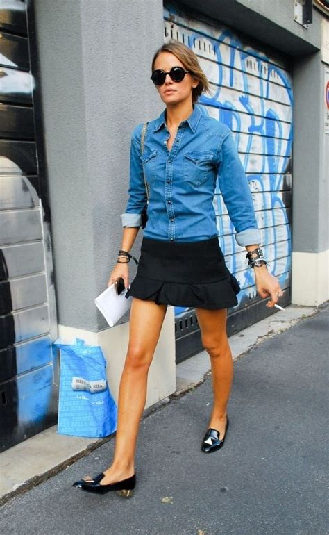 style denim chambray shirt black mini skirt