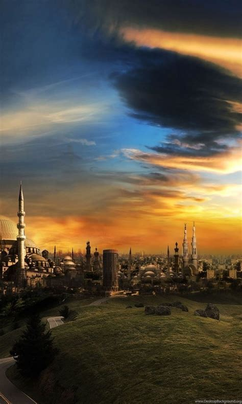 wallpapers  islam mosque city sunset