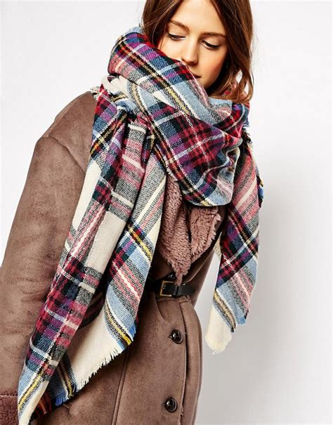 asos asos oversized square scarf in check