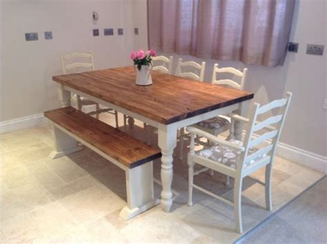 shabby chic table and bench shabby chic rustic farmhouse solid 8 seater dining table