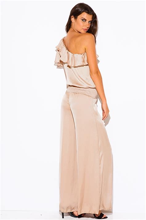 Shop wholesale womens mocha beige one shoulder ruffle