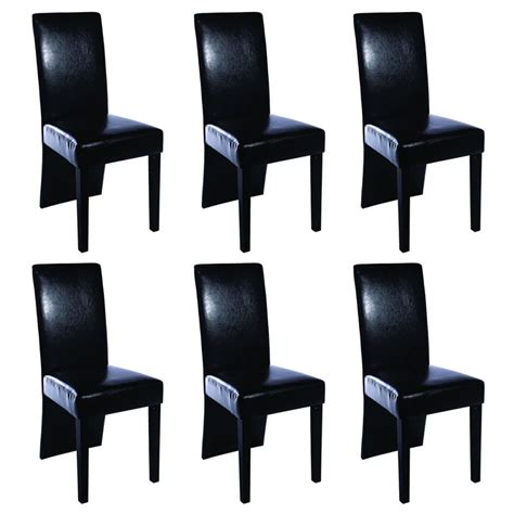 6 Leather Dining Chairs 6 Artificial Leather Wooden Dining Chairs Black Vidaxl