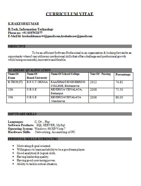 Curriculum Vitae Sles For Fresher Engineering Students Resume Templates