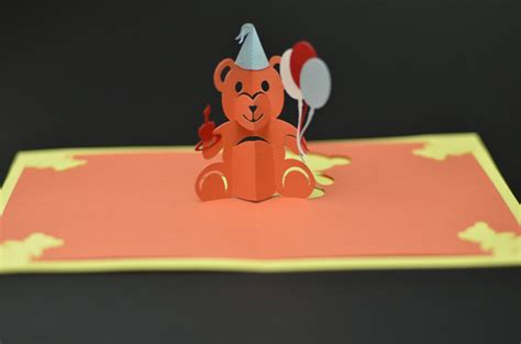 teddy pop up card template creative pop up cards
