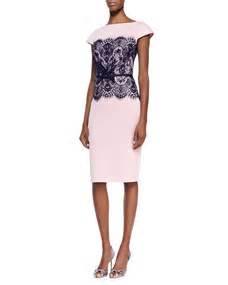 Donela Dress No 180 tadashi shoji sleeve lace middle belted cocktail dress pale pink navy