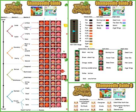 acnl hair color guide guide to shoodle animal crossing new leaf animal