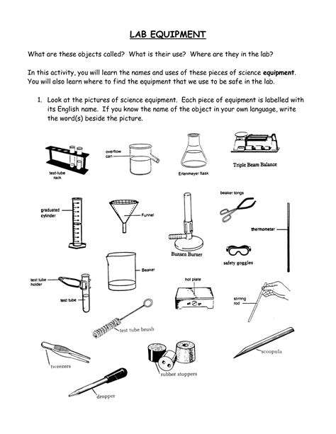 Lab Equipment Worksheet by Printable Science Lab Coloring Pages Coloring Home