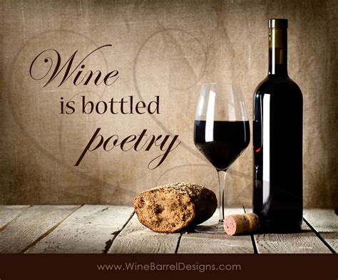 Wine is poetry quote wine barrel furniture