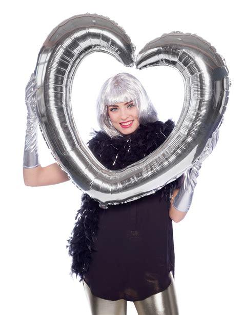 cornice a forma di cuore palloncino alluminio cornice a forma di cuore argento su