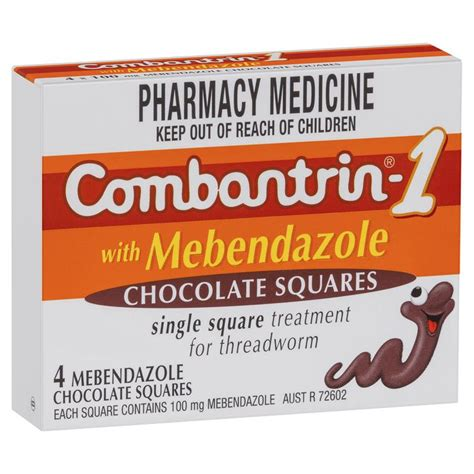 Combantrin Tab buy combantrin 1 with mebendazole chocolate squares 4 at chemist warehouse 174