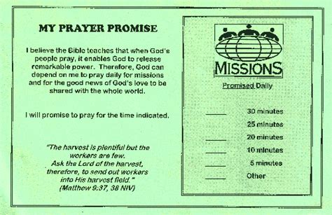 Commitment Letter For Church Ministry Sle Faith Promise Commitment Or Pledge Card