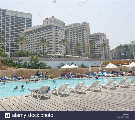 Beirut Hotel 2011 Beyrouth Hã Tel For Free View Of Intercontinental Phoenicia Hotel And Swimming Pool In Beirut Stock Photo Royalty Free