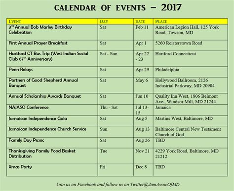 Maryland Calendar Of Events 2017 Events Jamaican Association Of Maryland
