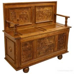 antique bench carved oak monks bench antiques atlas