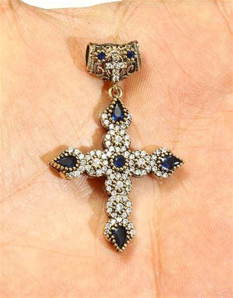 sapphire up with olives holy cross sapphire topaz 925k sterling silver pendant