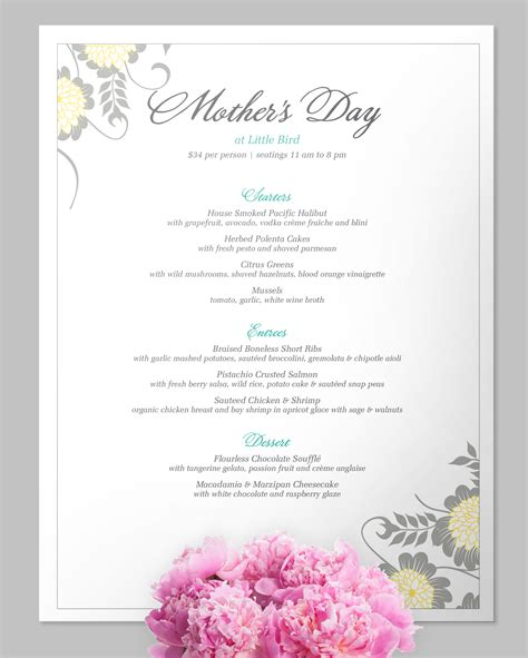 Menu Mother Day Menu Template Mother Day Menu Template Brunch Menu Template Free
