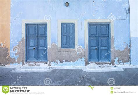 Mediterranean Style House Plans mediterranean style exterior blue wooden doors stock