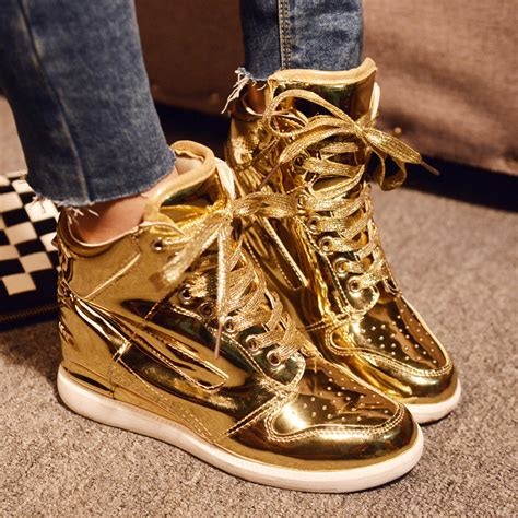 womens gold sneakers wholesale 2015 high quality fashion high top