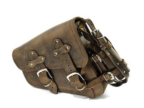 harley davidson swing arm saddle bag brown leather swingarm single sided pannier saddle bag