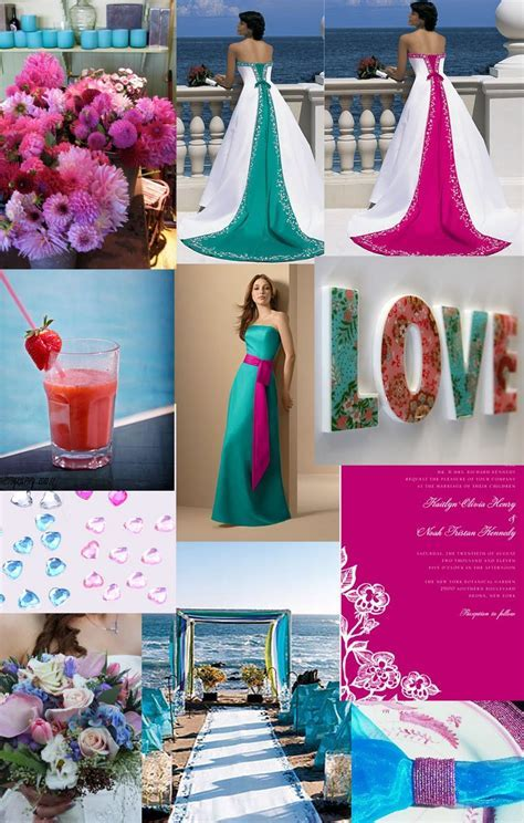 teal and hot pink wedding parties   Weddingzilla