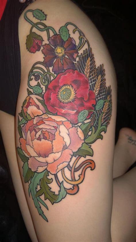 bonehead tattoos my newest artwork mucha inspired flowers on my thigh