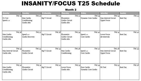 T25 Workout Calendar Shaun T Focus T25 Workout Calendar Eoua