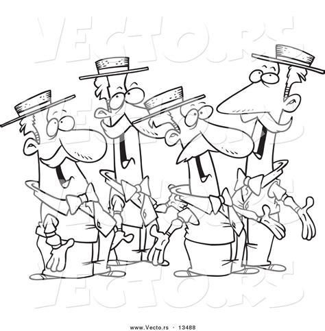vector of cartoon quartet of singing men coloring page