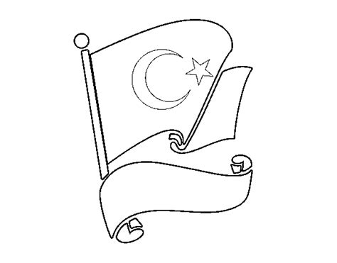 Flag Of Turkey Coloring Page Coloringcrew Com Turkey Flag Coloring Page