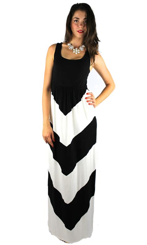 Turkey Dress Maxy 143 by Color Blocked Chevron Stripe Maxi Dress Black White H