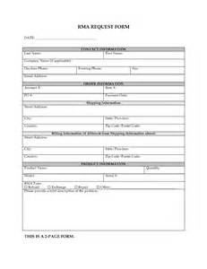 Rma Request Form Template by Return Material Authorization Rma Form Forms And