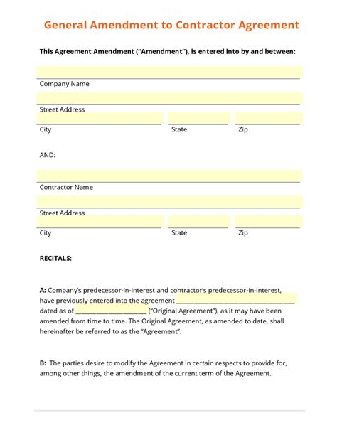 Blank Contract Exle Mughals Employment Contract Amendment Template