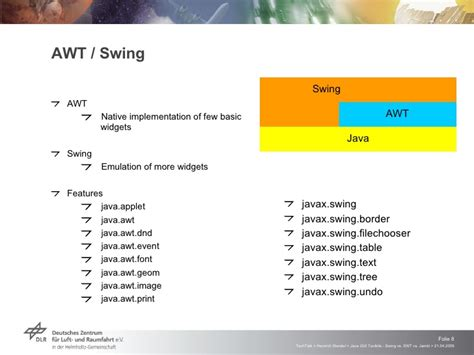 java awt vs swing java gui toolkits swing vs swt vs jambi