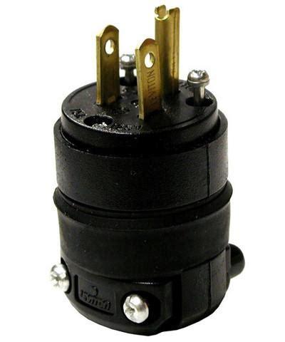 amp  volt nema  p pole wire plug straight blade rubber leviton