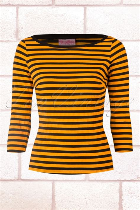 Yellow White Stripes Top 50s lorene boatneck top in yellow gold and black stripes