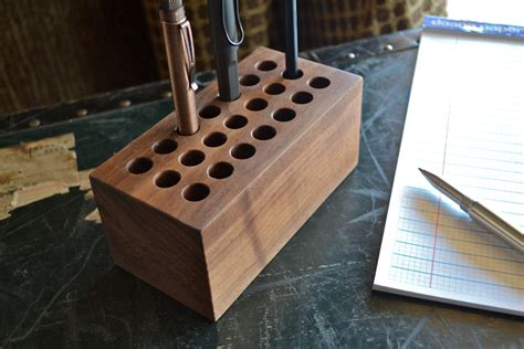the block handmade walnut wood pen holder