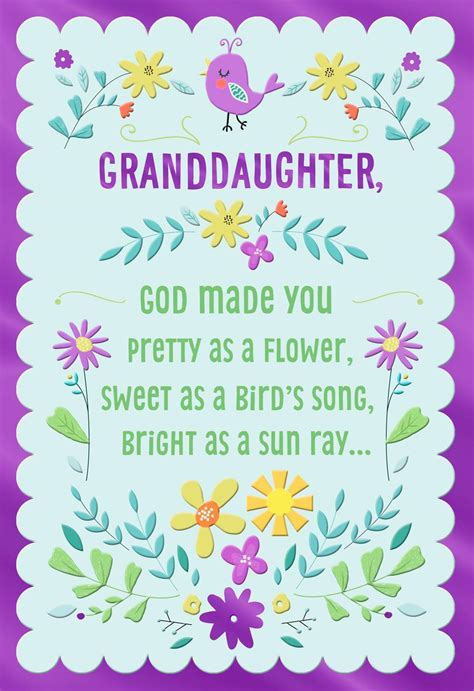 Pretty As a Flower Religious Easter Card for Granddaughter