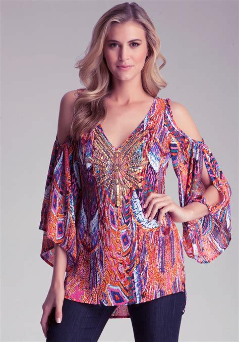 lyst bebe cold shoulder kimono tunic in purple