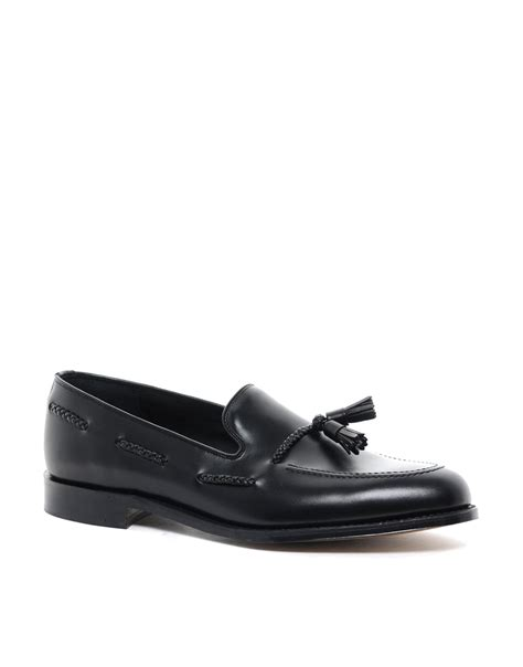 loake tassel loafers loake tassel loafers in black for lyst