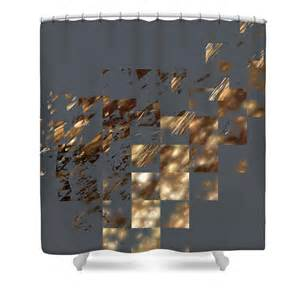 bronze on gray square shower curtain from america