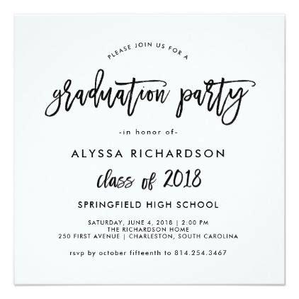 script graduation announcement name card modern script 2018 graduation invitation