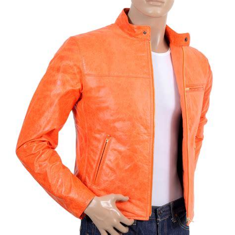 buy biker jacket buy orange kid leather biker jacket by red monkey jeans