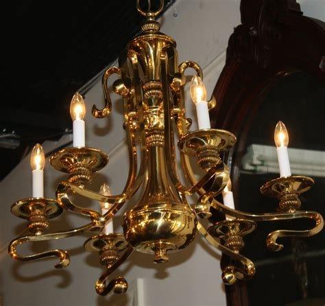 Antique Brass Chandeliers For Sale by Swirl Arm Six Light Brass Chandelier For Sale Antiques